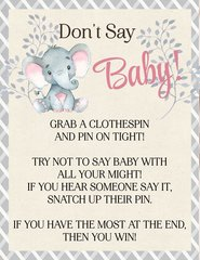 Don't Say Baby Elephant Pink Sign