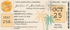 Tropical Airplane Ticket Wedding Invitation
