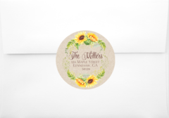 Rustic Sunflower Return Address Sticker or Logo