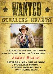 Wanted Cowboy Birthday Invitation