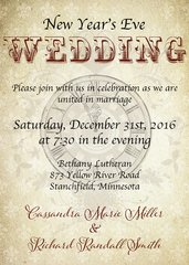 Steampunk New Years Eve Wedding Invitation