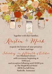 Fall Hanging Mason Jar Wedding Invitation