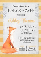 Woodland Fox Baby Shower Invitation