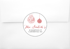 Red Christmas Bulbs Return Address Sticker
