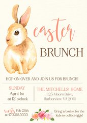 Watercolor Bunny Easter Brunch Invitation