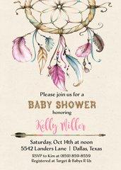 Dream Catcher Baby Shower Invitation-Girl