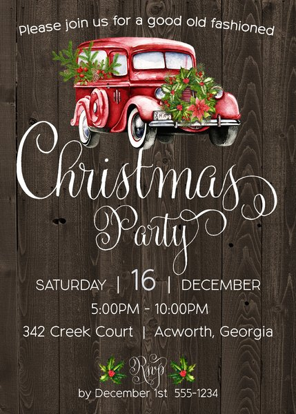 Old Fashioned Christmas Party Invitation
