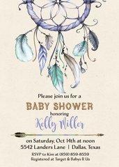 Dream Catcher Baby Shower Invitation-Boy