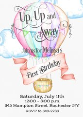 Watercolor Hot Air Balloon First Birthday Invitation