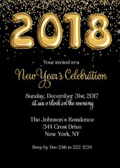 Gold Balloons New Year Invitation