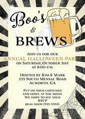 Boo's and Brews Halloween Party Invitation