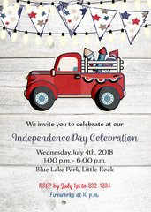 Rustic Red Truck Fourth of July Invitation