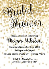 Gold Confetti Bridal Shower Invitation