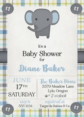 Gray Elephant Baby Shower Invitaiton