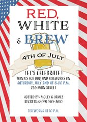 Red White and Brew Fourth of July Invitation