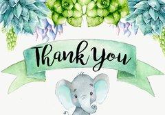 Elephant Thank You Card Succulents