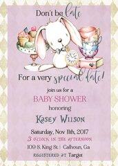White Rabbit Alice in Wonderland Baby Shower Invitation