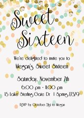 Mint & Gold Sweet Sixteen Birthday Party Invitation