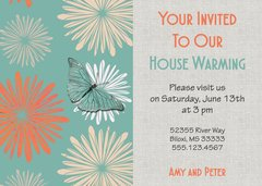 Retro Butterfly Housewarming Invitation