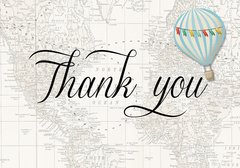 Hot Air Balloon Blue Thank You Card