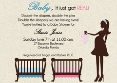 Baby it Just Got Real Twin Baby Shower Invitation