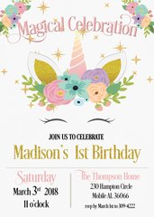 Unicorn Face First Birthday Invitation