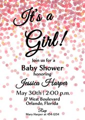 It's a Girl Pink Confetti Baby Shower Invitation