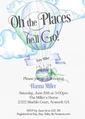 Oh The Places he'll Go Baby Shower Invitation