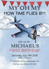 Airplane First Birthday Invitation