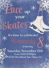 Lace up your Skates Birthday Invitation-Purple
