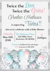 Twin Baby Elephant Shower Invitation
