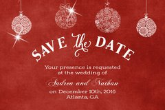 Red Christmas Save the Date Post Card