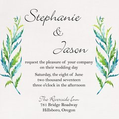 Watercolor Fern Wedding Invitation