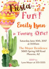 Fiesta Balloon Birthday Invitation