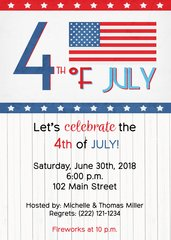 Rustic White Wood Fourth of July Invitation
