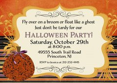 Fly Over on a Broom Halloween Party Invitation