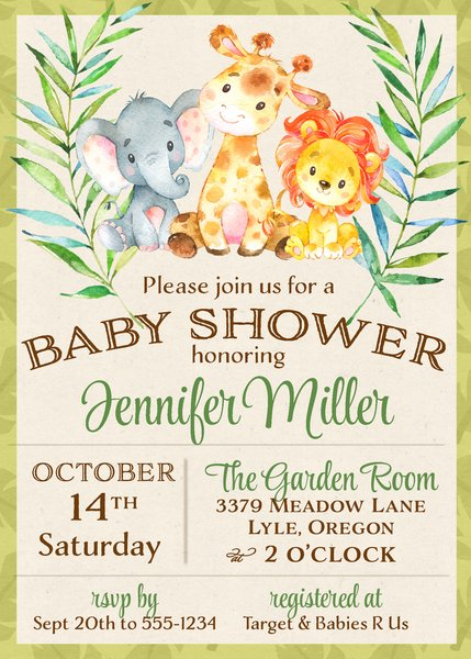 Jungle Baby Shower Invitation Sugar and Spice Invitations