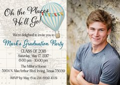 Oh the Places He'll Go Graduation Invitation