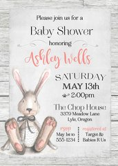 Bunny Watercolor Baby Shower Invitation