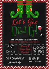 Lets Get Elfed Up Christmas Party Invitaiton Red