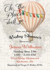 Hot Air Balloon Invitation Baby Girl Shower Invitation