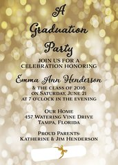 Gold Glitter Graduation Invitation