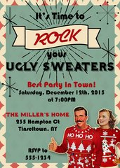 Retro Ugly Sweater Party Invitation