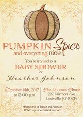 Pumpkin Spice Baby Shower Invitation