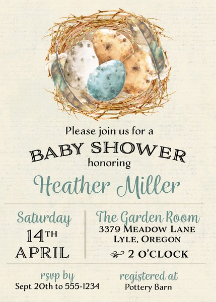 Bird Eggs Baby Shower Invitation