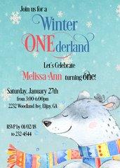 Winter Onederland Bear Birthday Invitation