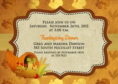Thanksgiving Dinner Invitation Gold