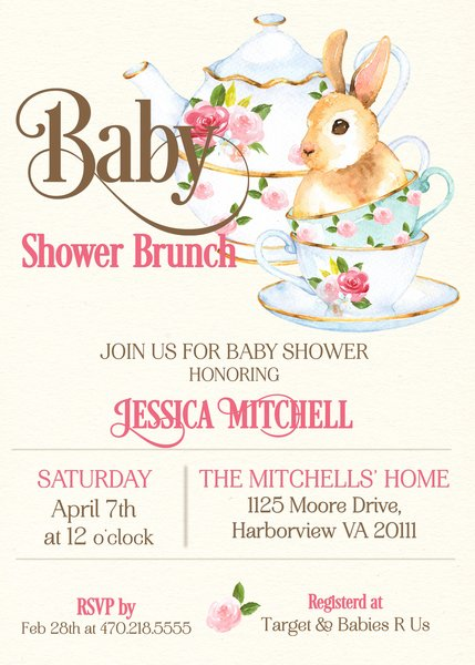 Bunny Baby Brunch Shower Invitation Sugar and Spice Invitations