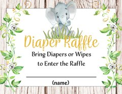 Diaper Raffle Elephant Gender Neutral