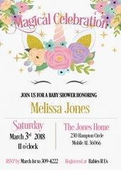 Unicorn Face Baby Shower Invitation